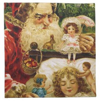 Vintage Santa med dockor Tygservett