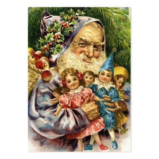Vintage Santa med dockor Visitkort Mallar