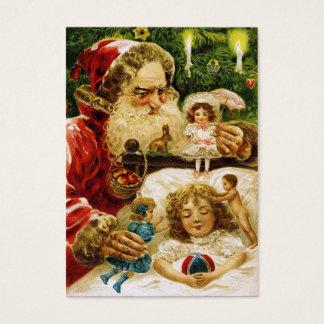Vintage Santa med dockor Visitkort