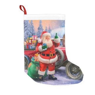 Vintage Santa med klassikerbilen Liten Julstrumpa