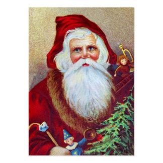Vintage Santa med leksaker och träd Visitkort