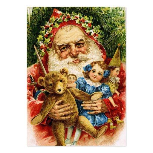 Vintage Santa med nalle och dockor Visitkort Mall