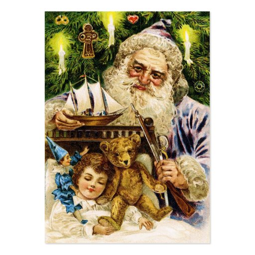 Vintage Santa med nalle och frakten Visitkort Mall