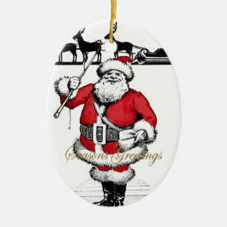 Vintage Santa med renen Ovalformad Julgransprydnad I Keramik
