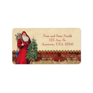 Vintage Santa och träd Adressetikett