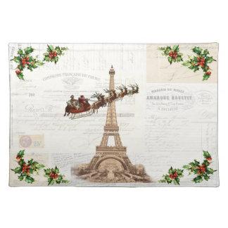 Vintage Santa över Paris julbordstablett Bordstablett