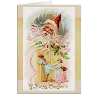 Vintage Santa på julmorgonkort Hälsningskort