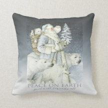 Vintage Santa Snowy Forest Winter Animals Pillows
