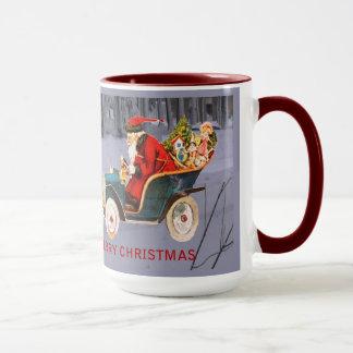 Vintage Santa som kör i en modern snöplatsmugg Mugg