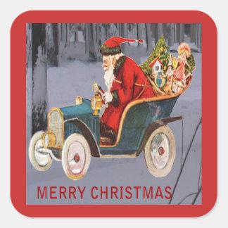 Vintage Santa som kör, modern snöplatsklistermärke Fyrkantigt Klistermärke
