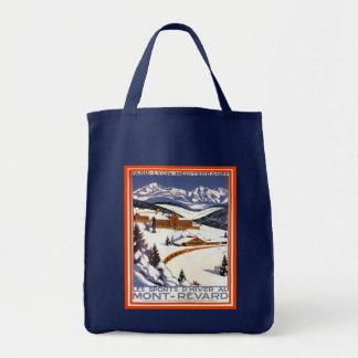 Vintage skidar affischen,    den Mont revarden, fr Tygkasse