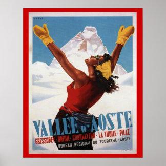 Vintage skidar affischen, italien, Val - D-' aosta Poster