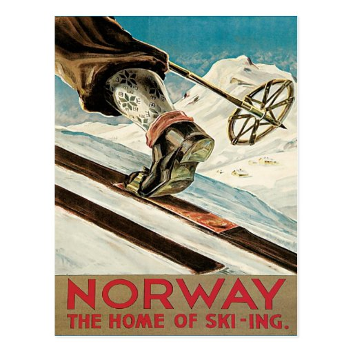Vintage skidar affischen, norge vykort