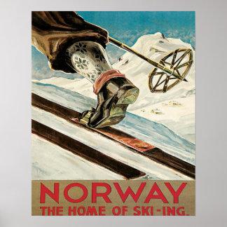 Vintage skidar affischen, norgen, hemmet av skidåk poster