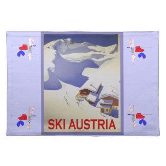Vintage skidar affischen, skidar Österrike Bordstablett