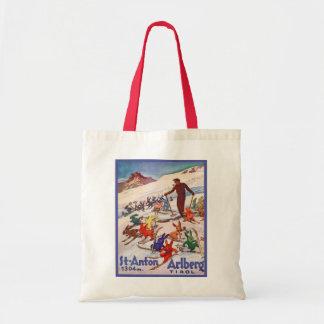 Vintage skidar affischen, St Anton, Arlberg, Tirol Tygkasse