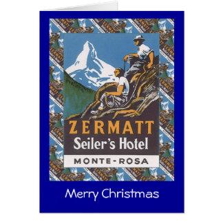 Vintage skidar affischen Zermatt, Seilers hotell, Hälsningskort