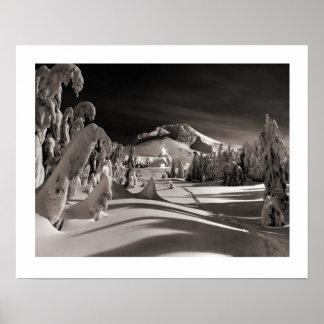 Vintage skidar avbildar, in mot vinterbyn poster