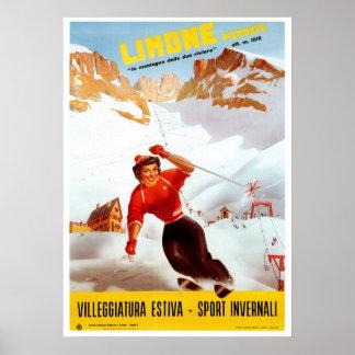 Vintage skidar den Limone Piemonte italienare rese Poster