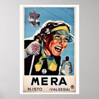 Vintage skidar den Mera Valsesia italienare reser Poster