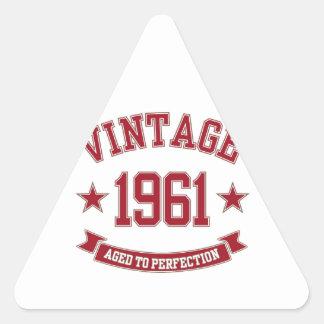 Vintage som 1961 åldras till perfektion triangelformat klistermärke