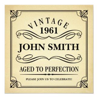 Vintage som åldras till den roliga fyrkantigt 13,3 cm inbjudningskort