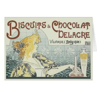 Vintage som annonserar den Chocoloate art nouveau Hälsningskort