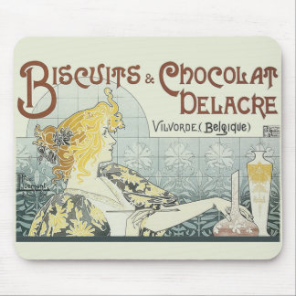 Vintage som annonserar den Chocoloate art nouveau Musmattor