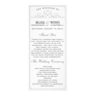 Vintage som är lantlig, land, vitbröllopsprogram reklamkort