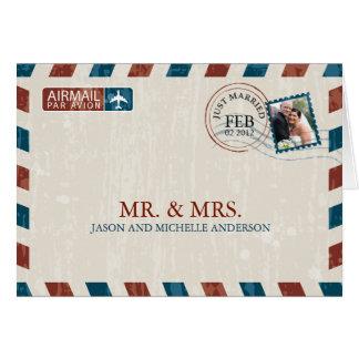 Vintage som gifta sig flygpost tack OBS kort