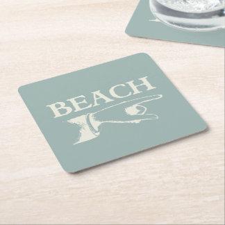 Vintage som pekar stranden, undertecknar underlägg papper kvadrat