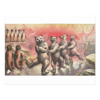 Vintage som röker och dansar djur vykort