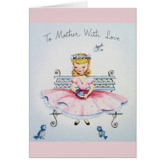 Vintage som ska fostras med kärlekmors dagkortet hälsningskort