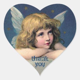 Vintage som vilar ängeln - tack - hjärtformat klistermärke