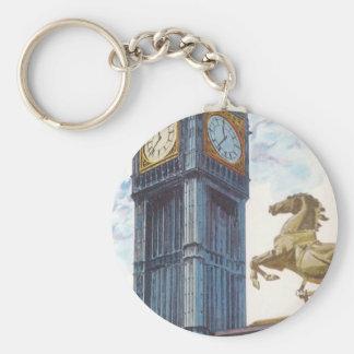 Vintage stora Ben tar tid på tornhäststatyn, Rund Nyckelring