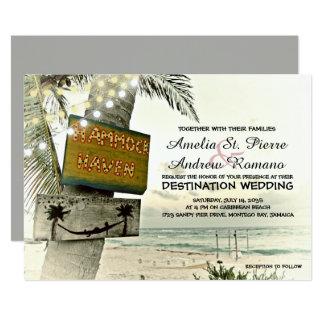 Vintage stränger ljust destinationsstrandbröllop 12,7 x 17,8 cm inbjudningskort