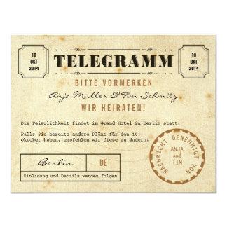 Vintage Telegramm Save the Date 10,8 X 14 Cm Inbjudningskort