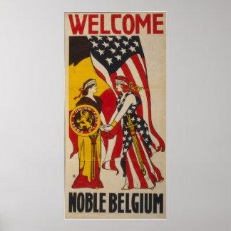 Vintage välkommna nobla Belgien Poster