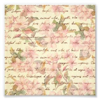 Vintage vattenfärg, blommigt, räcker writtend, fototryck
