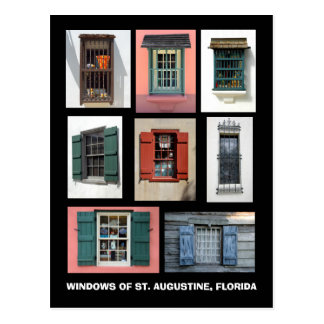 Vintage Windows av St Augustine, Florida Vykort