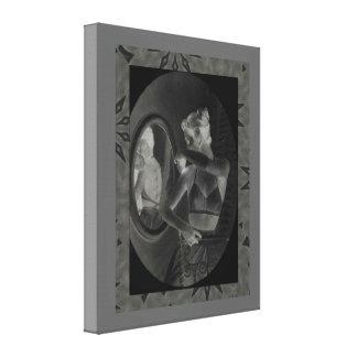 Vintageadvertizing, underkläderdam vid en spegel canvastryck