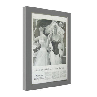 Vintageadvertizing, Warners glada änkakorsetter Canvastryck
