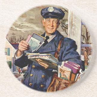 Vintageaffären, brevbäraren som levererar, postar underlägg sandsten