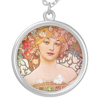 VintageAlphonse Maria Mucha konst Silverpläterat Halsband