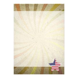 Vintageamerikanska flaggan virvlar runt 12,7 x 17,8 cm inbjudningskort