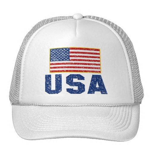 Vintageamerikanska flagganUSA truckerkeps Baseball Hat