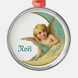 Vintageängel och prydnad för måneNoel jul Rund Silverfärgad Julgransprydnad
