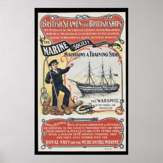 Vintageannonsering för nautiska brittiska sjömän poster