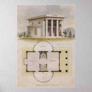 Vintagearkitektur, golv planerar och den grekiska poster