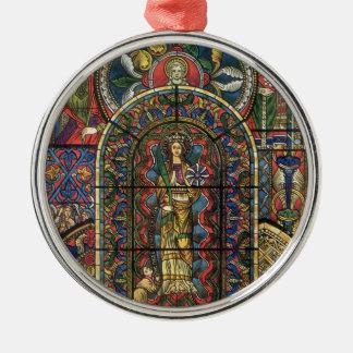 Vintagearkitektur, kyrkligt målat glassfönster julgransprydnad metall